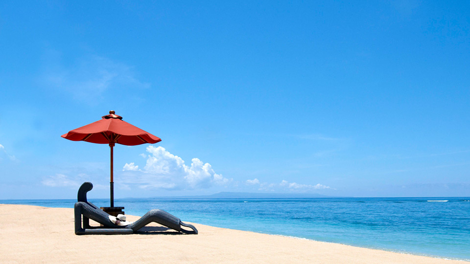 St. Regis Bali Resort white sandy beach.